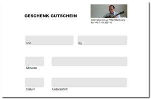 Geschenk Gutschein für Gitarrenunterricht Bassunterricht